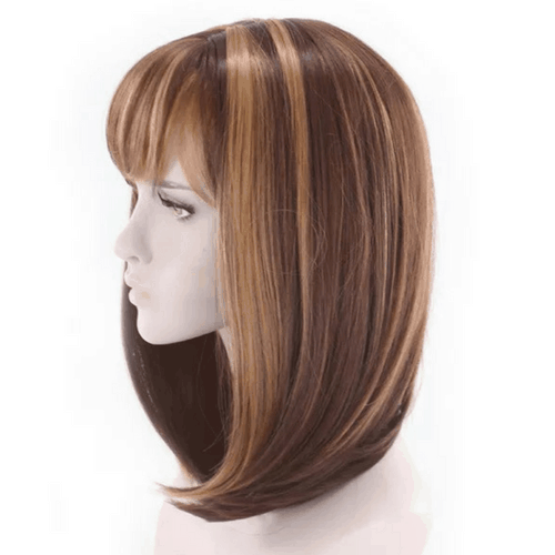 Long Bob Wigs Brown With Blonde Highlights With Bangs